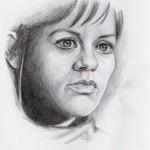 Weibliches Gesicht im Halbprofil