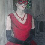 Frau mit roter Maske