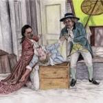 Le nozze di Figaro: Graf Almaviva, Susanna und Don Basilio (Julian Tovey, Lucy Crow und Aled Hall)