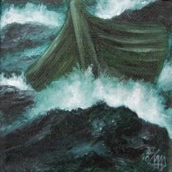 Nussschale auf wogendem Ozean