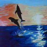 Meer mit Delfinen bei Sonnenuntergang