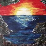 Meer und Lagune bei Sonnenuntergang