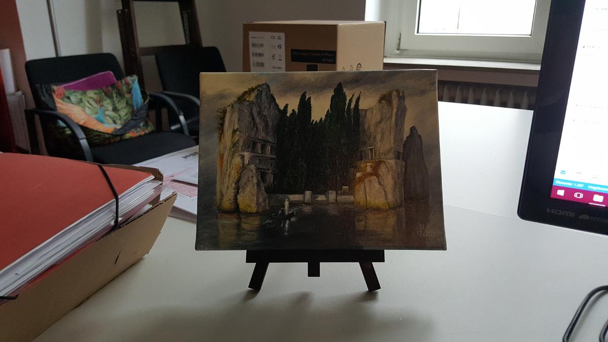 Die Toteninsel auf meinem Büroschreibtisch